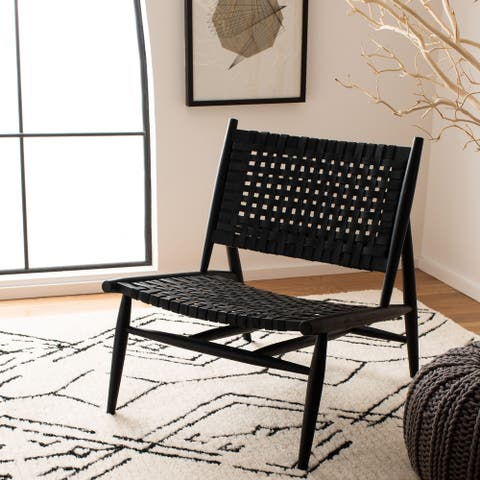 """SAFAVIEH Soleil Leather Woven Accent Chair - 26"""" W x 31.5"""" L x 30.7"""" H"""