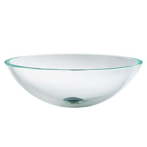 KRAUS 16 1/2 inch Crystal Clear Round Glass Vessel Bathroom Sink