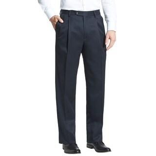 Berle Pleated Super 100s Wool Gabardine Trousers 32 Pants Unhemmed Navy Blue