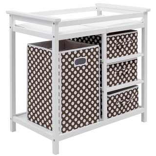 Costway Brown Infant Baby Changing Table w/3 Basket Hamper Diaper