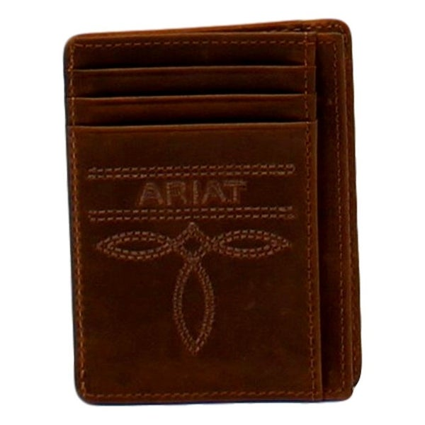 Ariat Western Wallet Mens Card Case Toe Bug ID Window Brown - One size