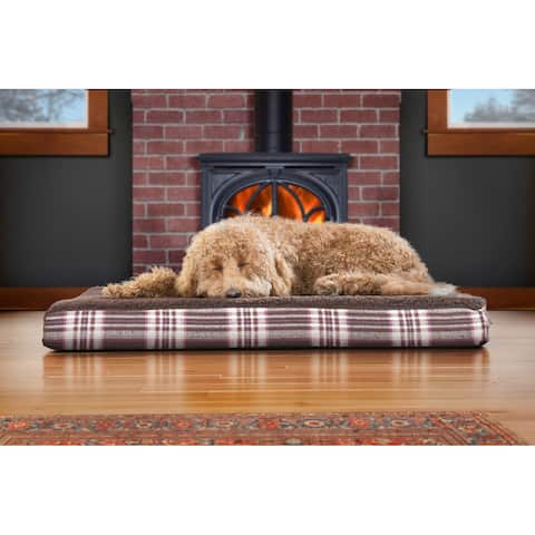 FurHaven Faux Sheepskin and Plaid Deluxe Orthopedic Pet Bed