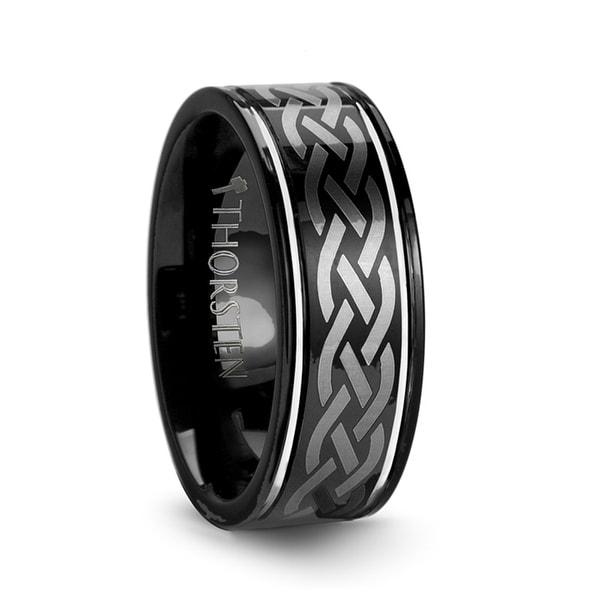 Kildare Celtic Engraved Design Black Tungsten Wedding Band
