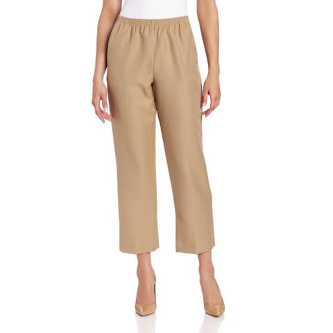 Alfred Dunner Women's Pants Brown Size 14X28 Pull On Straight Dress