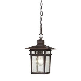 Nuvo Lighting 60/4955 Cove Neck Single-Light Hanging Lantern with Clear Seed Glass Panels - rustic bronze
