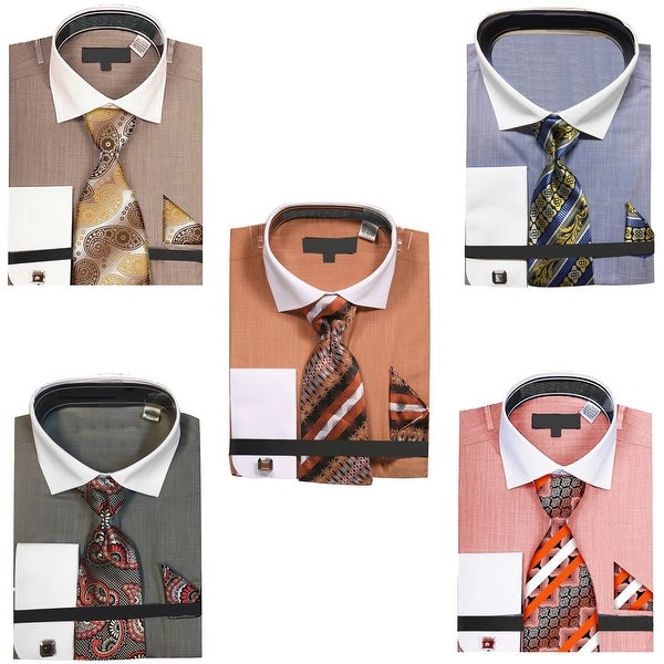 Men's Chambre Dress Shirt with Tie Handkerchief and Cufflinks