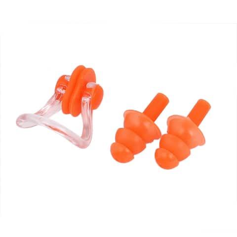 Swimming Diving Guard Tool Earplugs Ear Protector Nose Clip Set Orange w Case