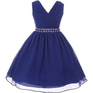 Flower Girl Dress Chiffon Cross-Body Style Royal MBK 371