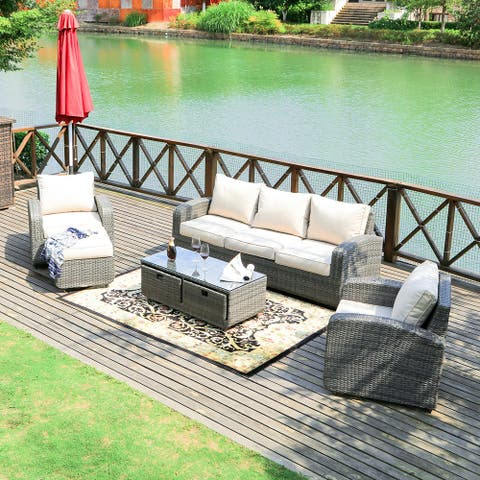5pcs Wicker Patio Sofa Set Outdoor Chat Sets With Drawer Table by Moda Furnishings