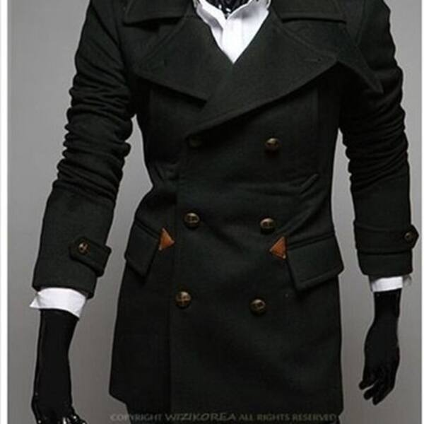 Double-Breasted Winter Men Trench Coat Long Slim Fashion Styish Woolen Men  Overcoat - Overstock - 31152225