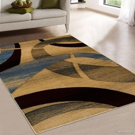 "Allstar Brown / Beige Carved Circles Modern Abstract Geometric Area Rug (7' 9"" x 10' 5"")"