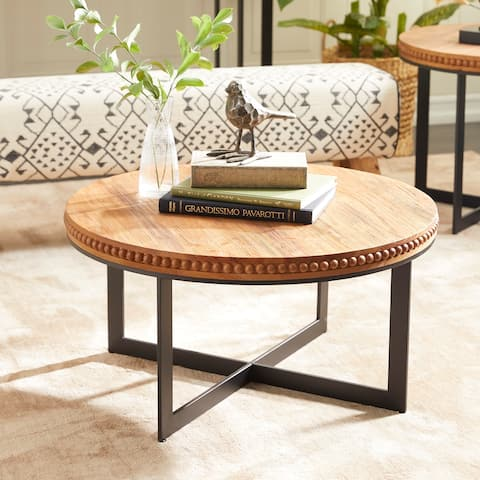 Brown Wood Industrial Coffee Table 16 x 30 x 30 - 30 x 30 x 16Round