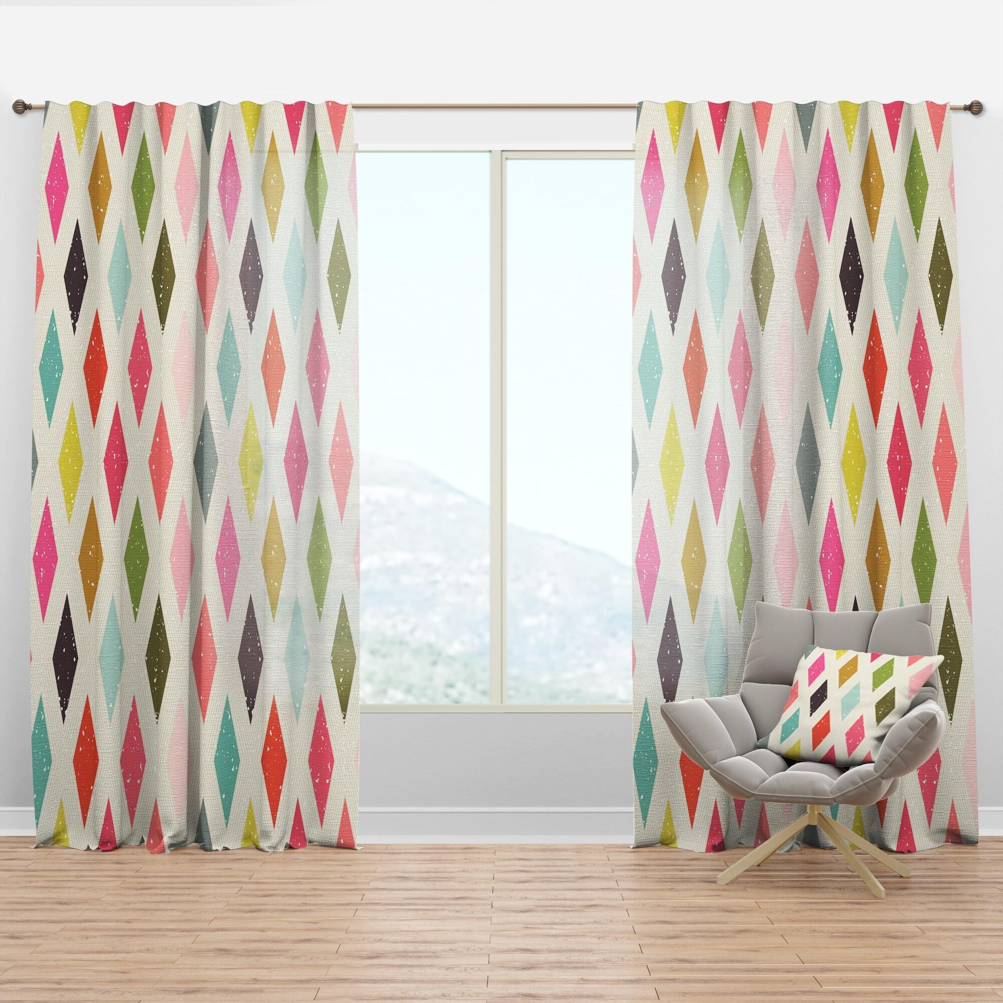 Image of: Shop Black Friday Deals On Designart Diamond Retro Iii Mid Century Modern Curtain Panel Overstock 29625972