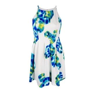 Calvin Klein Women's Printed Halter Fit & Flare Dress (Atlantis Multi, 12) - atlantis multi