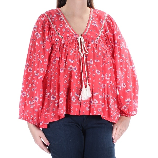 e82c1ce3f9a82 Shop Womens Coral Floral Long Sleeve V Neck Top Size L - Free Shipping On  Orders Over  45 - Overstock - 22644636