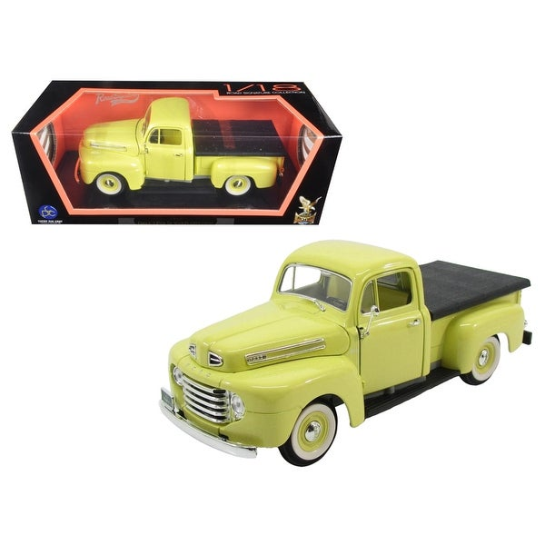 1948 Ford F-1 Pickup Truck with Flatbed Yellow 1/18 Diecast Model Car by Road Signature