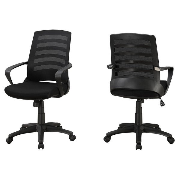 """Set of 2 Black Upholstered Contemporary Office Chair 37.75"""" - N/A"""