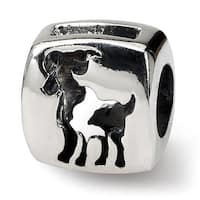 Sterling Silver Reflections Aries Zodiac Antiqued Bead (4mm Diameter Hole)