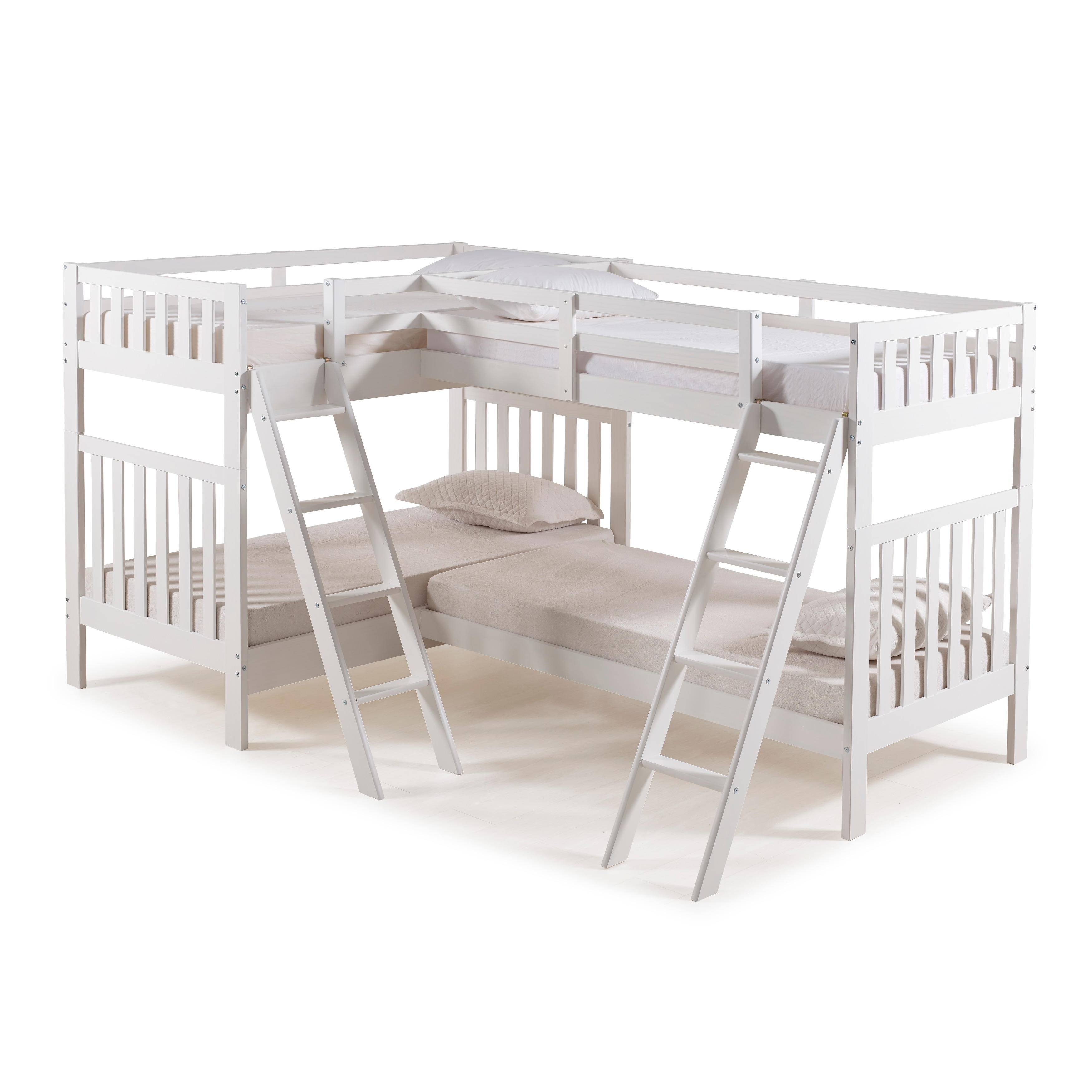 Picture of: Aurora Solid Wood Twin Over Twin Bunk Bed With Quad Bunk Extension Overstock 22406181