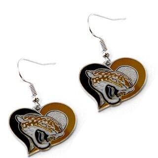 Jacksonville Jaguars Jags Swirl Heart Earring NFL Dangle Logo Charm Gift