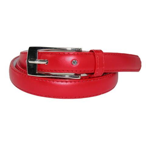 CTM® Women's Skinny Leather Dress Belt