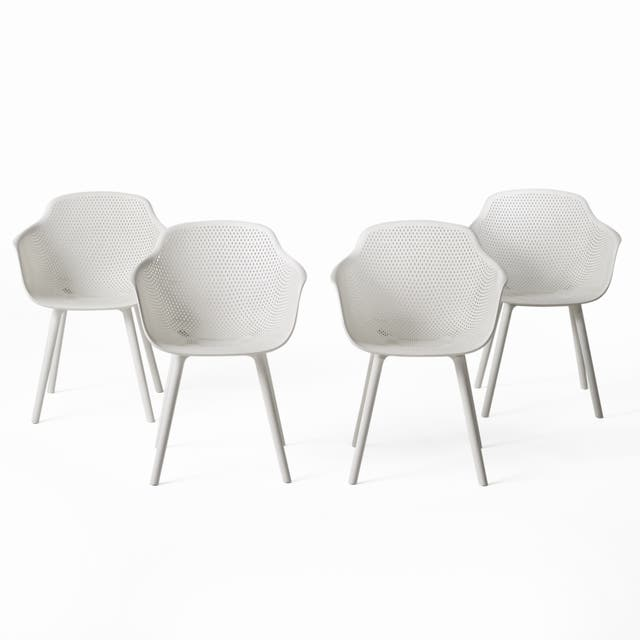 Lotus Outdoor Modern Dining Chair (Set of 4) by Christopher Knight Home - White