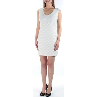 Womens White Geometric Sleeveless Above The Knee Sheath Dress Size: 9