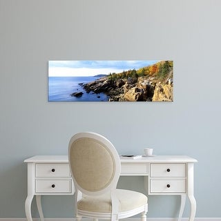 Easy Art Prints Panoramic Image 'Rock formation at seaside, Acadia National Park, Hancock County, Maine' Canvas Art