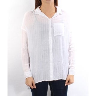 Womens White Cuffed Collared Casual Button Up Top Size S
