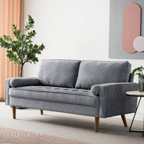 Ovios High Back Couch Mid-century Spring Top Grain Leather Wood Legs Sofa