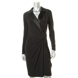 Lauren Ralph Lauren Womens Wear to Work Dress Faux Wrap Satin Lapel