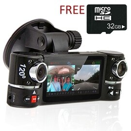 "Indigi® F600 Car DVR DashCam w/ Rotating Cameras (Front+Rear) Driving Recorder with 2.7"" LCD w/ IR Nightvision & 32gb microSD"