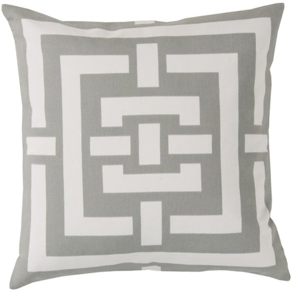 "20"" Ivory White and Light Gray Circles and Squares Decorative Throw Pillow"