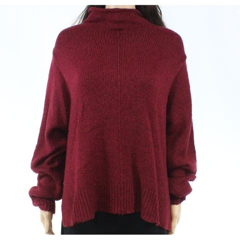 Free Press Women's Deep Red Size Large L Hi-Low Turtleneck Sweater