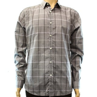 THEORY NEW Gray Mens Large L Long Sleeve Woven Button Down Plaid Shirt