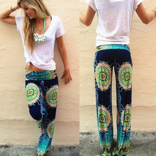Women's Fashion Soft Floral Printed Pants Loose Elastic High Waist Wide Leg Long Casual Pants Trousers D275. Opens flyout.