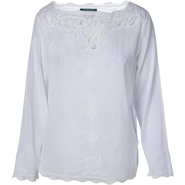 Lauren Ralph Lauren Womens Pullover Top Cotton Crochet Trim