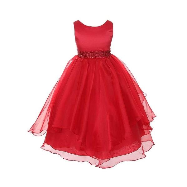 chic baby red layered beaded flower girl christmas dress girls 2t