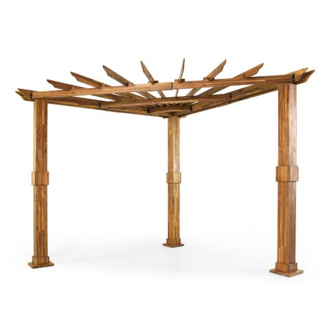 Dilan Outdoor Acacia Wood Triangle Pergola by Christopher Knight Home