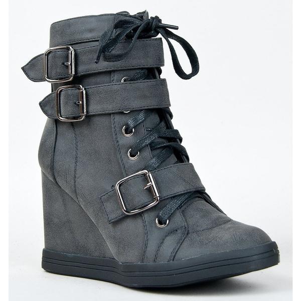 Nature Breeze Women Halston-01 Boots - Black pu - 6.5 b(m) us