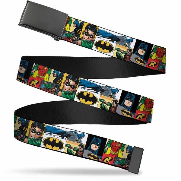 Blank Black Buckle Batman & Robin Action Panels Webbing Web Belt