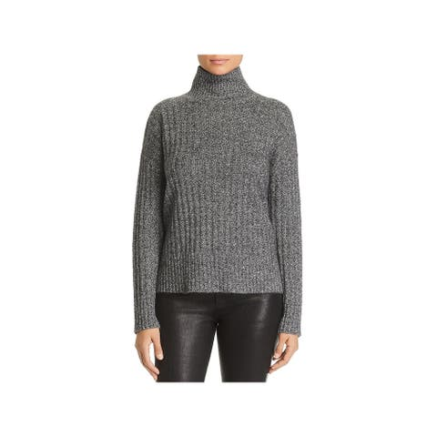 Private Label Womens Sweater Cashmere Ribbed - Black/White Tw - S