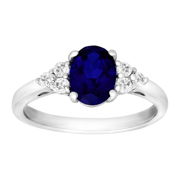 1 7/8 ct Created Sapphire & Natural White Topaz Ring in Sterling Silver - Blue