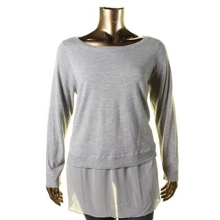 Eileen Fisher Womens Plus Layered Heathered Pullover Sweater