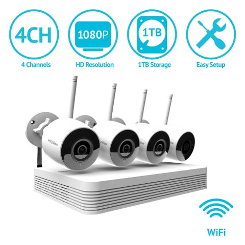 LaView 4 Channel 1080P Wi-Fi Auto-Pairing NVR Security System with (4) 1080P Bullet Wi-Fi IP Cameras and 1TB HDD