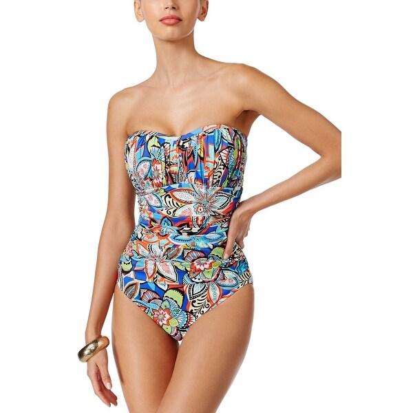 a666742da8 Swim Solutions Womens Fiesta Twist Printed One Piece Swimsuit 18 Multi