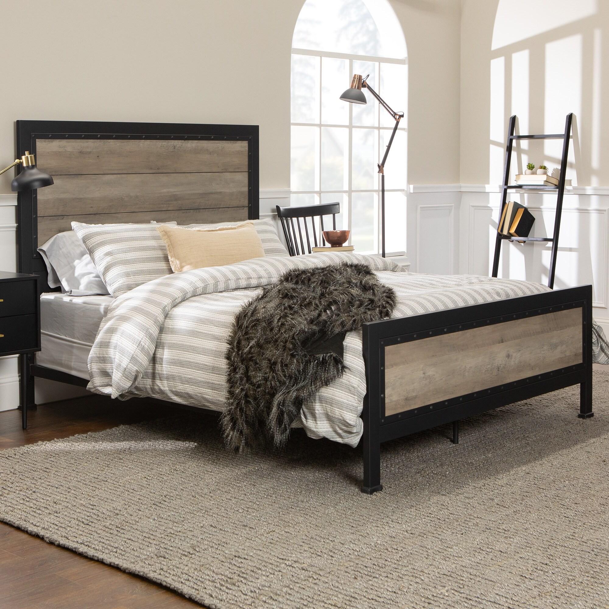 Carbon Loft Santos Rustic Metal Queen Panel Bed On Sale Overstock 18239566 Reclaimed Barnwood