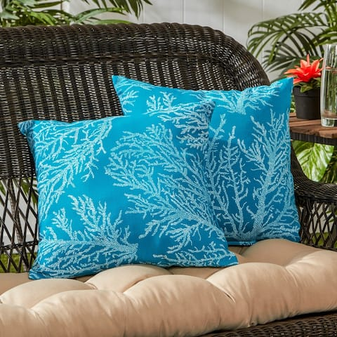 Duck Coral Pattern Outdoor Accent Pillow, (Set of 2) by Havenside Home - 17w x 17l