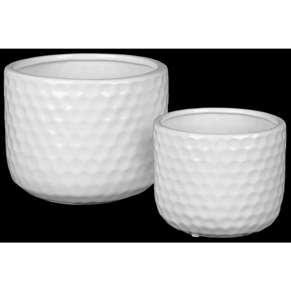 Ceramic Round Vase with Engraved Circle Design Pattern, Set of Two, White