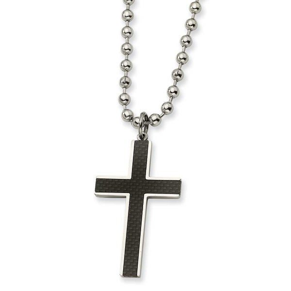 Chisel Stainless Steel Carbon Fiber Cross Pendant Necklace (5 mm) - 22 in